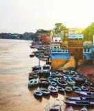 Opinión aérea del río Ganges en Varanasi, la India Fotografía de archivo libre de regalías