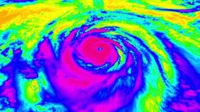 Opinión aérea del satélite del radar del huracán almacen de metraje de vídeo