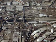 Opinión aérea del tren de las corridas del LA largo sin embargo Fotografía de archivo