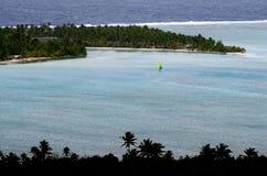 Opinión aérea el cocinero Islands de la laguna de Aitutaki Fotos de archivo libres de regalías