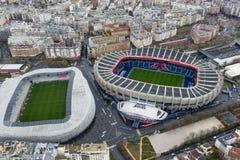 Opinión aérea el fútbol y Stade Jean Bouin Rugby Stadium del Le Parc des Princes foto de archivo libre de regalías