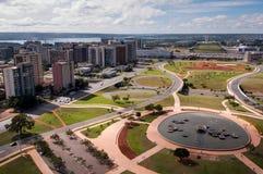 Opinión aérea el piloto Plan de la ciudad de Brasilia fotos de archivo