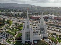 Opini?n a?rea el San Diego California Temple imagenes de archivo