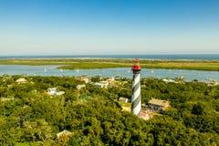 Opinión aérea el santo Augustine Lighthouse en Anastasia Island en la Florida imagen de archivo libre de regalías