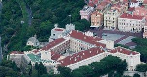 Opinión aérea hermosa los príncipes Palace de Mónaco almacen de video