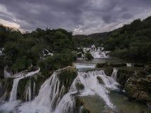 Opinión aérea imponente sobre las cascadas del parque nacional de KRKA Fotografía de archivo libre de regalías