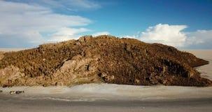 Opinión aérea Isla Incahuasi, la isla del cactus en el lago de sal de Salar de Uyuni, Bolivia almacen de video