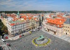 Opinión aérea Jan Hus Monument en Praga, República Checa fotografía de archivo libre de regalías