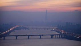 Opinión aérea la ciudad y Lotte Tower, Corea del Sur de Seul metrajes