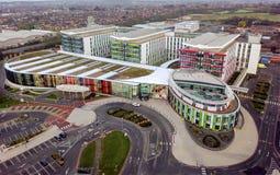 Opinión aérea los reyes Mill Hospital Nottingham, Inglaterra fotos de archivo