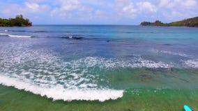 Opinión aérea personas que practica surf, Baie Lazare Beach, Mahe Island, Seychelles 5 metrajes