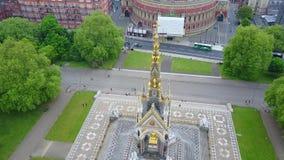 Opinión aérea príncipe Albert Memorial en Londres metrajes