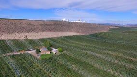 Opinión aérea Rich Farmland en el valle de Okanogan debajo de la cumbre llenada antena parabólica almacen de metraje de vídeo