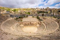 Opinión aérea Roman Theatre en Amman, Jordania fotografía de archivo