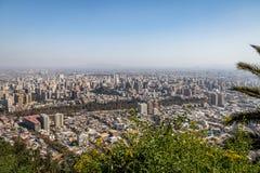 Opinión aérea Santiago de Chile de San Cristobal Hill - Santiago, Chile Fotografía de archivo libre de regalías
