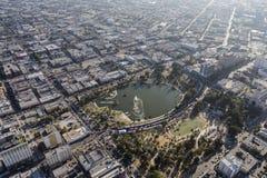 Opinión aérea Smoggy del verano de Macarthur Park Los Ángeles Fotografía de archivo libre de regalías