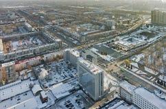 Opinión aérea sobre cuadrado de la memoria en Tyumen Rusia Foto de archivo