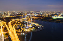 Opinión aérea sobre el aviador de Singapur Fotos de archivo libres de regalías