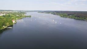 Opinión aérea sobre el Mohnesee Fotos de archivo libres de regalías