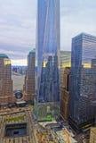 Opinión aérea sobre el monumento nacional del 11 de septiembre en Distr financieros Fotos de archivo