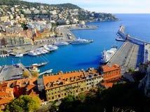 Opinión aérea sobre el puerto de Niza, Francia Fotografía de archivo libre de regalías