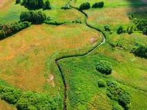 Opinión aérea sobre el río entre los árboles verdes y los prados amarillos Fotografía de archivo libre de regalías