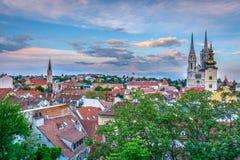 Opinión aérea sobre el viejo centro de ciudad, Zagreb Croatia Fotografía de archivo libre de regalías