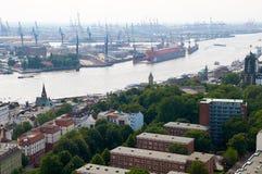 Opinión aérea sobre Hamburgo alemania foto de archivo
