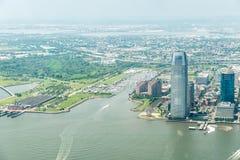 Opinión aérea sobre Jersey City Imágenes de archivo libres de regalías
