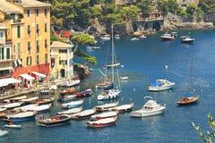 Opinión aérea sobre la bahía de Portofino. Foto de archivo libre de regalías