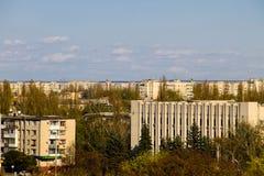 Opinión aérea sobre la ciudad Kremenchug imagen de archivo
