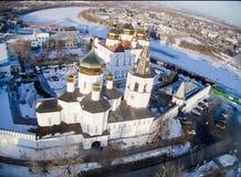 Opinión aérea sobre monasterio de la trinidad santa Imágenes de archivo libres de regalías