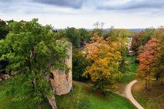 Opinión aérea sobre parque del otoño con ruinas viejas de la torre en la ciudad de Cesis, Letonia Foto de archivo
