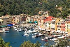 Opinión aérea sobre Portofino. Fotos de archivo libres de regalías