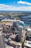Opinión aérea sobre Sydney CBD y Darling Harbour con suburbio del mes pasado Imagen de archivo