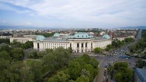 Opinión aérea Sofia University, Sofía, Bulgaria foto de archivo libre de regalías
