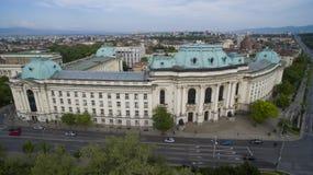 Opinión aérea Sofia University, Sofía, Bulgaria imágenes de archivo libres de regalías