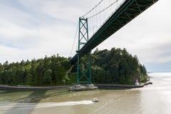 Opinión aérea Stanley Park en la entrada de Burrard en Vancouver Imágenes de archivo libres de regalías