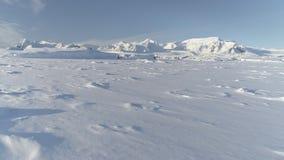 Opinión aérea superficial ártica nevada del vuelo almacen de video