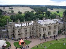 Opinión aérea Warwick Castle, Warwickshire, Inglaterra Imagen de archivo