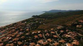 Opinión aereal del abejón del mar de Pescaia del della de Castiglione almacen de metraje de vídeo