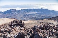 Opinión amplia sobre la caldera del volcán Teide, Tenerife Foto de archivo