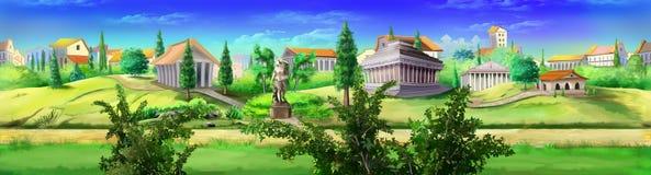 Opinión antigua del panorama de Roma Imagen 03 stock de ilustración