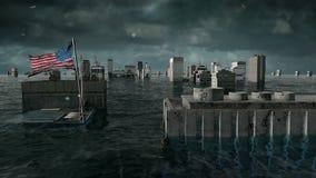 Opinión apocalíptica del agua inundación urbana, bandera de América los E.E.U.U. tormenta 3d rinden ilustración del vector