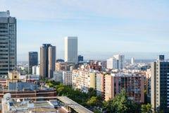 Opinión arial panorámica de Madrid del tejado Fotografía de archivo