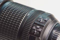 Opinión ascendente cercana sobre el interruptor del estabilizador de un objetivo para las cámaras foto de archivo libre de regalías