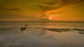 Opinión asombrosa de la puesta del sol Foto de archivo libre de regalías