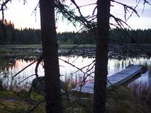 Opinión asombrosa de la puesta del sol - Lusi, Finlandia foto de archivo libre de regalías