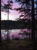 Opinión asombrosa de la puesta del sol - Lusi, Finlandia fotografía de archivo