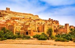 Opinión asombrosa Kasbah Ait Ben Haddou cerca de Ouarzazate en el Atl Fotografía de archivo libre de regalías